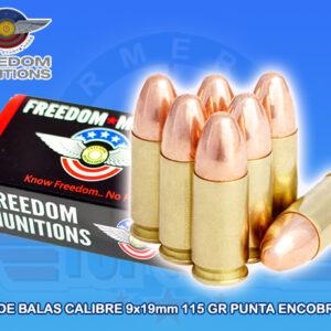 Caja de Balas calibre 9x19mm, punta RNF (Plomo Encobrizado)