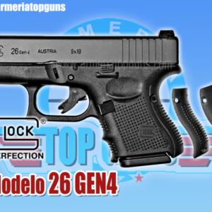 PISTOLA MARCA GLOCK MODELO 26 GEN4 CALIBRE 9x19mm