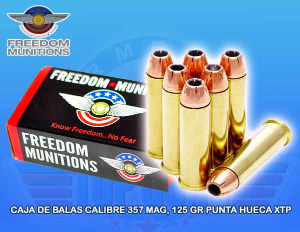 Caja de Balas marca FREEDOM, calibre .357, 125Grs, PUNTA XTP, Armeria Top Guns