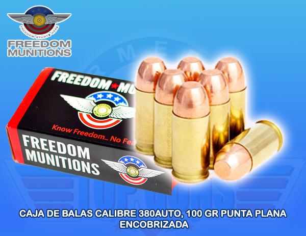 Caja de Balas marca FREEDOM, calibre .380AUTO, 100Grs, PUNTA ENCOBRIZADA (RNF), Armeria Top Guns