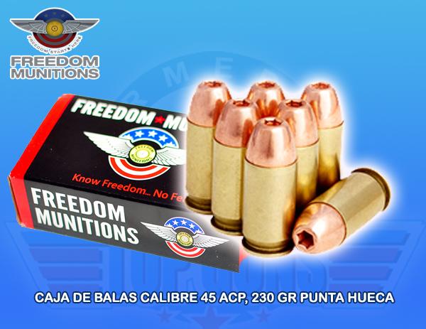 Caja de Balas marca FREEDOM, calibre .45AUTO, Armeria Top Guns