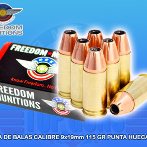 Balas calibre 9x19mm freedom, armeria top guns