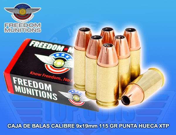 Balas calibre 9x19mm freedom, armeria top guns